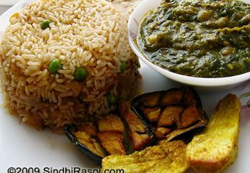Sai Bhaji, Pulav, Fry Aloo and Brinjal Combo